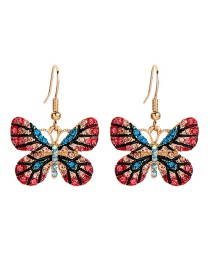Fashion Color Flower Butterfly And Diamond Earrings