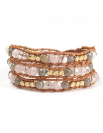 Fashion Gray Woven Winding Buckle Natural Stone Crystal Bracelet