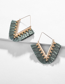 Fashion Light Green Alloy Wire Ear Fringed V-shaped Earrings