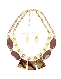 Fashion Brown Acrylic Shaped Bead Chain Necklace