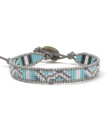 Fashion Blue + Gray Buckle Woven Rice Beaded Leather Bracelet