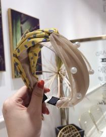 Fashion Yellow Polka Dot Contrast Beaded Cross Knotted Headband