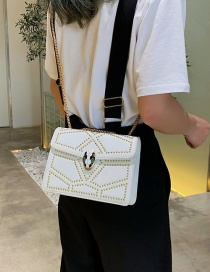 Fashion White Rivet Snake Head Shoulder Bag