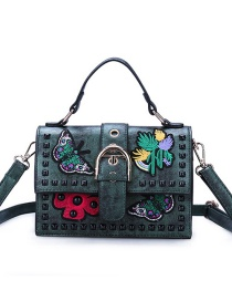 Fashion Dark Green Butterfly Embroidered Studded Shoulder Crossbody Tote