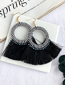Fashion Black Alloy Wax Rope Round Feather Tassel Earrings