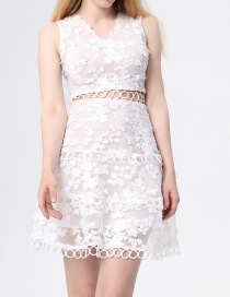 Fashion White Water Soluble Lace Cutout Dress