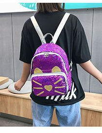 Fashion Purple Sequined Laser Backpack