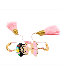Fashion Pink Rice Beads Woven Tassel Bracelet