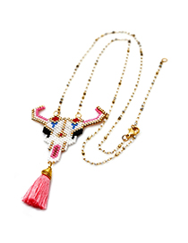 Fashion Pink Rice Beads Woven Cow Head Electroplated Color Chain Necklace