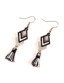 Fashion Black And White Tassel Geometric Knitted Millet Bead Earrings