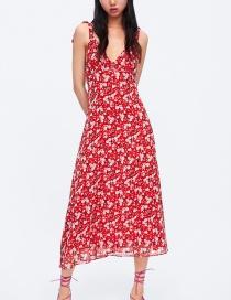 Fashion Red Flower Print Dress