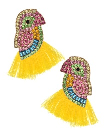 Fashion Yellow Alloy Diamond-studded Bird Tassel Earrings
