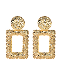 Fashion Gold Alloy Square Earrings