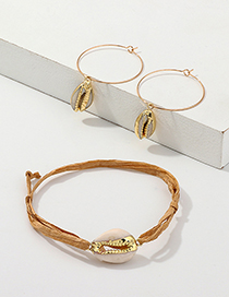Fashion Gold Shell Earrings Lafite Bracelet Set