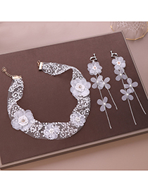Fashion White Crepe Flower Hair Band Earrings Set
