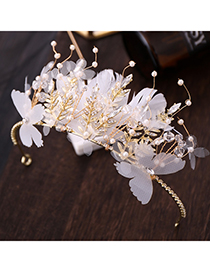 Fashion White Feather-encrusted Crown