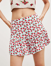 Fashion White Print Printed Short Skirt