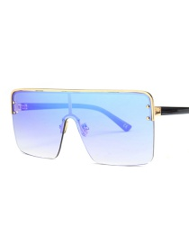Fashion Golden Frame Ice Orchid Siamese Lens Sunglasses