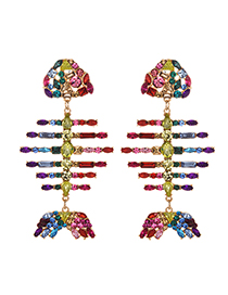 Fashion Color Alloy Studded Fish Bone Earrings