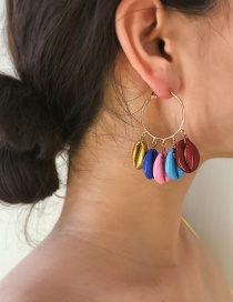 Fashion Gold Circle Multi-layer Spray Paint Shell Earrings