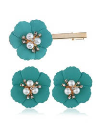 Fashion Blue Alloy Flower Pearl Earrings Hair Clip Set