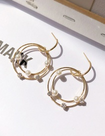 Fashion Gold Pearl Hollow Ring Stitching Stud Earrings