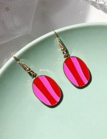 Fashion Elliptical Red Geometric Metal Drop Glaze Stitching Contrast Earrings