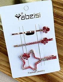 Fashion Red Alloy Diamond Five-pointed Star Butterfly Hair Clip Set
