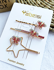 Fashion Red Alloy Pentagram Butterfly Diamond Hair Clip Set