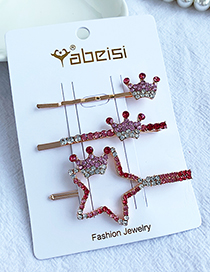 Fashion Red Alloy Diamond Five-pointed Star Crown Hair Clip Set