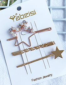 Fashion Big Five-pointed Star Alloy Diamondd Pearl Five-pointed Star Hairpin Set
