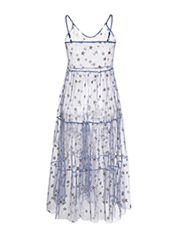 Fashion Blue Perspective Mesh Star Sequined Dress