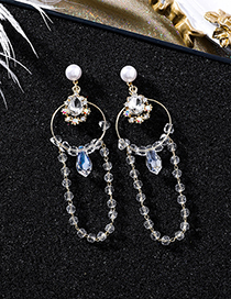 Fashion Gold Pearl Ring Dripping Crystal Tassel Earrings