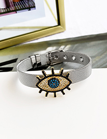 Fashion Silver Stainless Steel Copper Inlay Zircon Black Eyelash Eye Bracelet