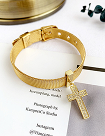 Fashion Gold Stainless Steel Copper Inlay Zircon Cross Bracelet