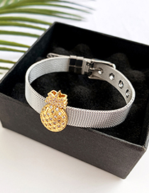 Fashion Silver Stainless Steel Copper Inlay Zircon Pineapple Bracelet