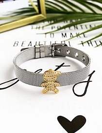 Fashion Silver Stainless Steel Copper Inlay Zircon Three-dimensional Boy Bracelet