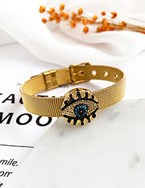 Fashion Gold Stainless Steel Copper Inlay Zircon Round Eye Bracelet