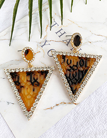 Fashion Yellow Alloy Diamond-studded Hollow Triangle Stud Earrings