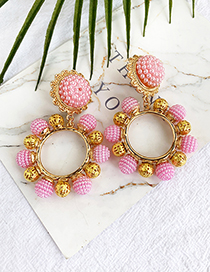 Fashion Pink Alloy Pearl Round Earrings