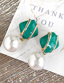 Fashion Green Alloy Pearl Square Earrings