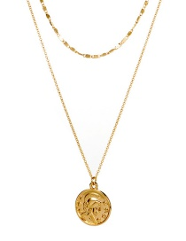 Fashion Gold Portrait Gold Coin Chain Multi-layer Alloy Necklace