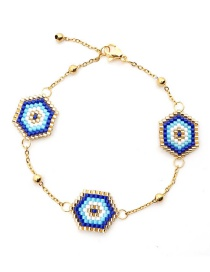 Fashion Blue Eye Stainless Steel Plated Gold Bracelet