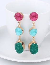 Fashion Rose Red Imitation Natural Stone Oval Earrings