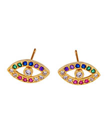 Fashion Eye Gold Zircon Eye Earrings