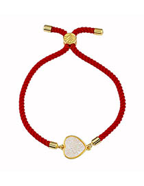 Fashion Red Rope Milky White Love Adjustable Drawstring Bracelet