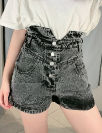 Fashion Black High Waist Denim Shorts