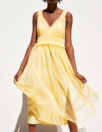 Fashion Yellow Laminated Crepe Dress (with Sling)