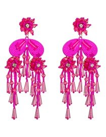 Fashion Red Acrylic Crystal Rice Beads Flower Tassel Earrings