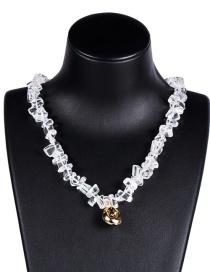 Fashion White Acrylic Crystal Alloy Shell Necklace